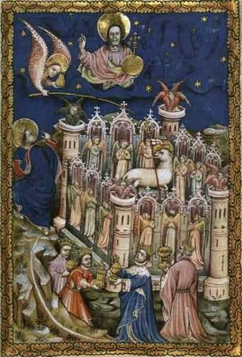 La Gerusalemme celeste e l'Agnello Miniatura del 1400 circa, Bibliothèque Nationale, Parigi