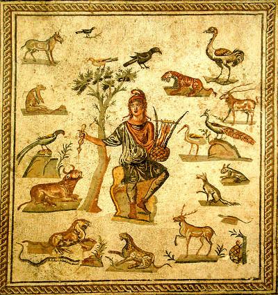 Orfeo e gli animali Mosaico pavimentale romano di età imperiale Palermo, Museo Archeologico