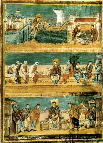 Prima bibbia di Carlo il calvo (scene della vita di san girolamo) Parigi, Biblioteque Nationale