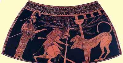 Particolare di un'anfora proveniente da Vulci con Eracle, Cerbero ed Atena (525 a. C. - Parigi, Museo del Louvre)