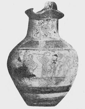 L'oinochoe di Tragliatella (620 a.C.) - vista frontale