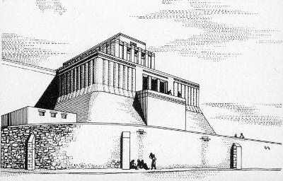 Disegno della ricostruzione del tempio VII (prima metà del IV millennio a. C.). Medio oriente