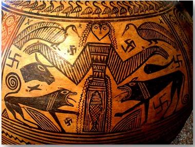 Artemide con swastika. Grecia, circa 700 a.C