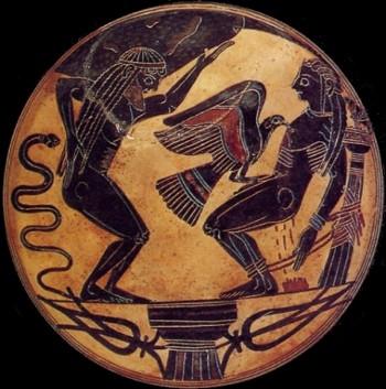 Punizione di Prometeo e di suo fratello Sisifo, kylix a figure nere,  ca. 550 a. C.