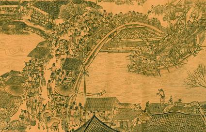 """""""Qingming"""", festa Cinese in onore degli antenati.  Il dipinto mostra una società fiorente e pacifica intorno al ponte di Bianjing."""