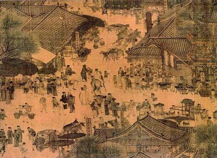 """Parte del tratto urbano dell'antica pittura cinese:  """"Vita lungo il fiume Bianjing durante il Festival della Pura Luminosità."""""""