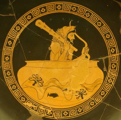 Hêraclês è portato sulla tazza di Hêlios sui flutti dell'Oceano Museo Gregoriano, Roma