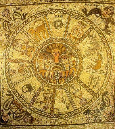Mosaico della sinagoga di Beit Alpha: il carro del sole ed i segni zodiacali che rappresentano il tempo.