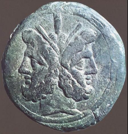 211 a.C. circa - Raffigurazione di Giano bifronte su moneta