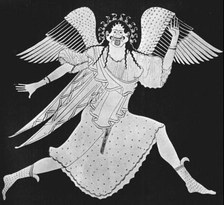 Vulci - 490 a.C. - Riproduzione di Gorgone alata su anfora dio ceramica