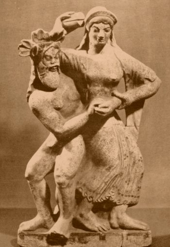 Menade e Sileno - Terracotta 480 a.C. - Museo Villa Giulia Roma