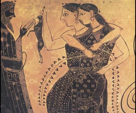 Due menadi presentano una lepre a Dioniso - Anfora Attica 540 a.C.