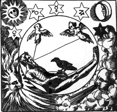 Nigredo - dal manoscritto Viatorium spagyricum, Herbrandt Jamsthaler, (1625)
