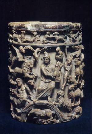 Orfeo incanta gli animali con la musica (pisside)- V/VI sec. a.C.