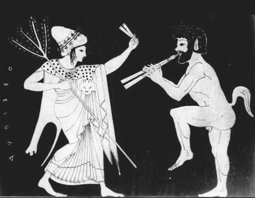 Oritia, ninfa dei boschi, che danza con un Sileno - Ceramica Attica 525 a.C.