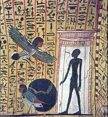 """L'ombra del defunto e gli uccelli """"ba"""" - Tebe, Deir el-Bahari, tomba di Irenufer"""