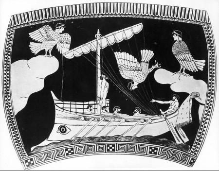 Odisseo e le sirene - Rappresentazione su ceramica (475 a.C.)