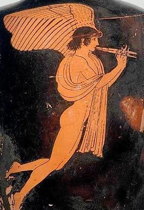 Eros con flauto Pittura attica a figure rosse su Lekythos 470-460 a.C ( Museum of fine arts di Boston)