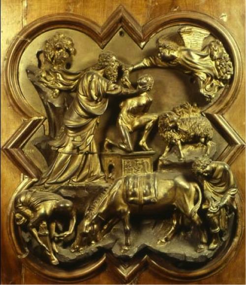 Sacrificio di Isacco, formella in bronzo  (1401) di Brunelleschi.