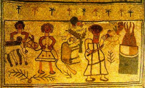 Mosaico della sinagoga di Bet Alpha: il sacrificio di Isacco